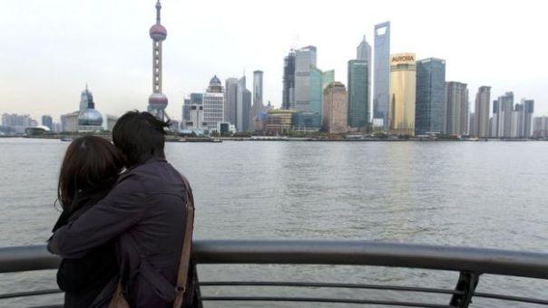 Una pareja en Shanghái.