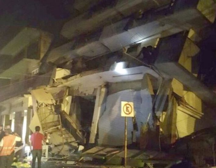 A collapsed building in the town of Matias Romero in Oaxaca state