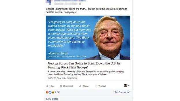 Tin vịt về ông Soros được chia sẻ trên Facebook