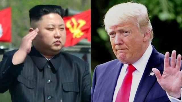El líder de Corea del Norte, Kim Jong-un, y el presidente de Estados Unidos, Donald Trump