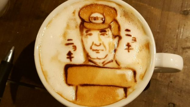 PM Shinzo Abe pictured in a coffee art design