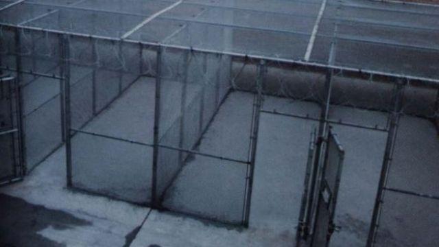 Cubículos enrejados donde los reos salen a hacer ejercicio.