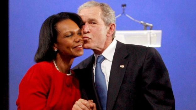 Condolezza Rica y George W. Bush