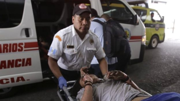 An injured victim is brought to hospital