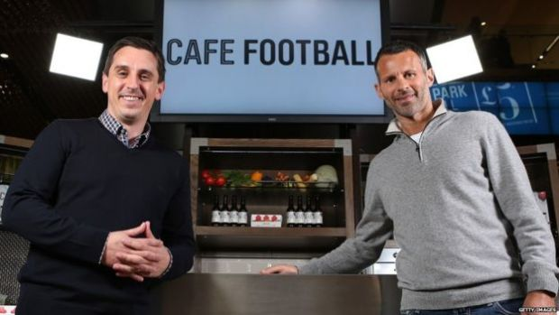 Gary Neville with former United team-mate Ryan Giggs at Cafe Football in London