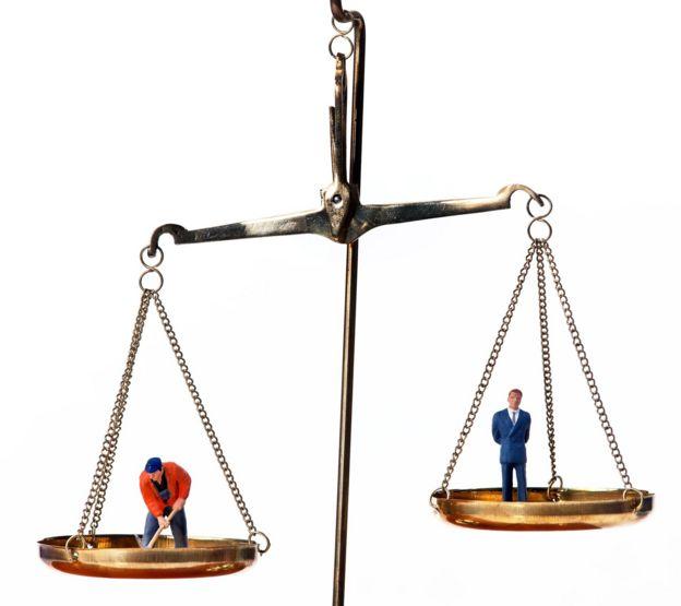 Balanza que simboliza la diferencia salarial entre ejecutivos y empleados