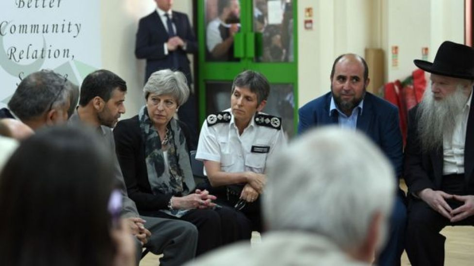 The prime minister with faith leaders at Finsbury Park Mosque
