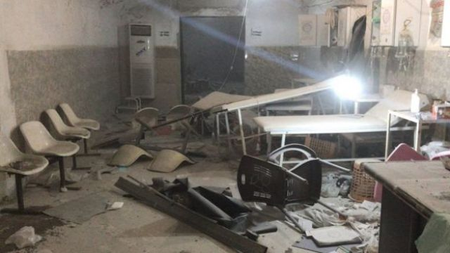 Damage from attack on Al Maghara cave hospital in Kafr Zita, 1 February