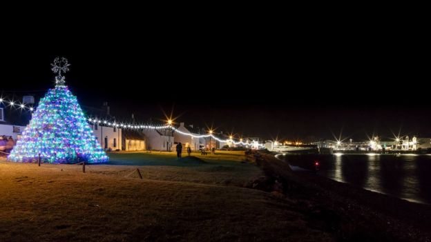 Ullapool's lit up creel Christmas tree