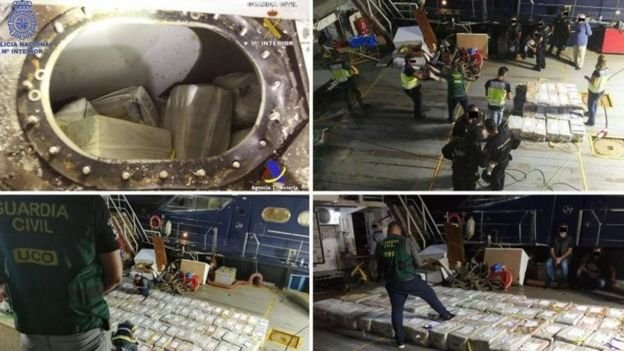 A composite image of four handout photos made available by the Spanish Civil Guard (Guardi Civil) shows officers of the Special Operations Group (GEO) and Civil Guard officers during the seizure of a 3.8 tonnes of cocaine (07 October 2017)