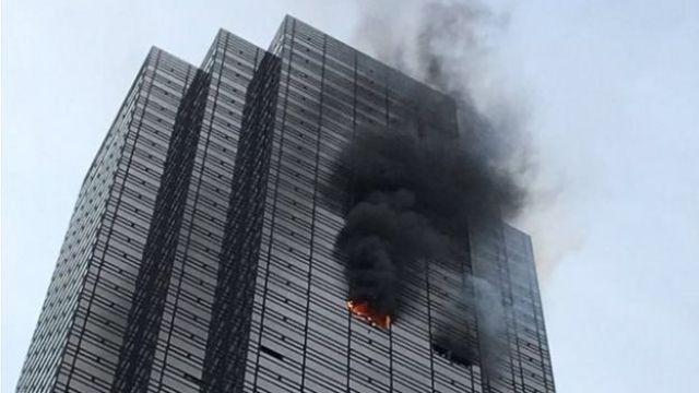 Fuego en la Torre Trump de Nueva York.
