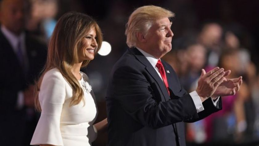 Republican Presidential Candidate Donald Trump and wife Melania Trump smile on stage after Trump's acceptance speech during the final day of the Republican National Convention in Cleveland, 21 July 2016