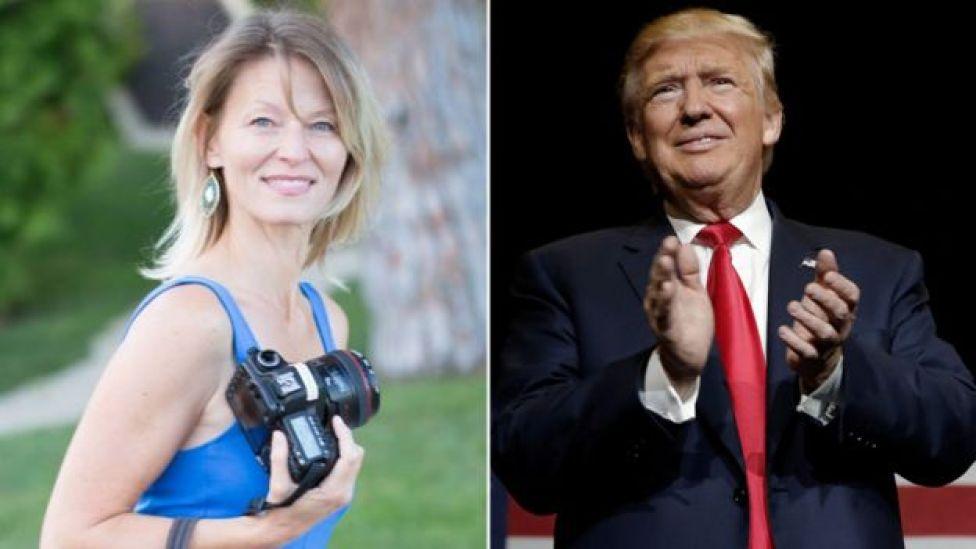 Kristin Anderson (L) and Donald Trump