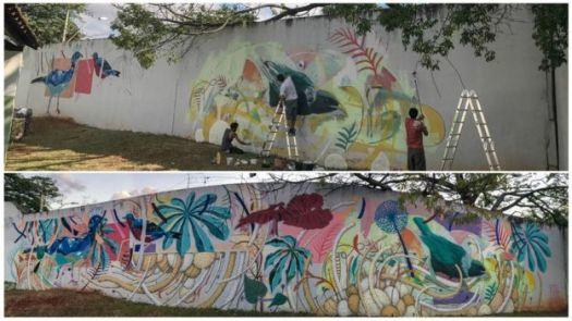 Muro recebe intervenção artística em hospital psiquiátrico