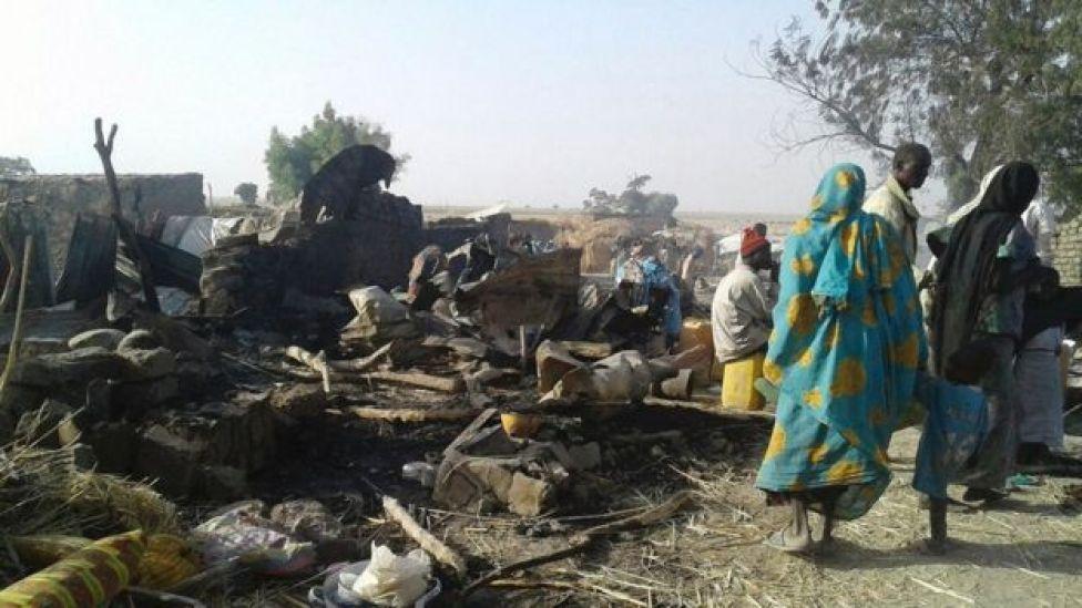 Damage in the camp in Rann, Nigeria, 17 January