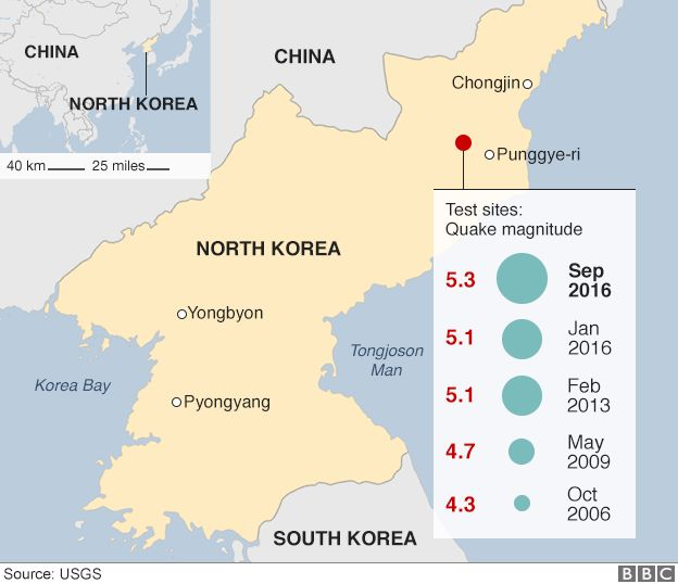 Map showing the locations and the magnitude of the seismic events triggered by North Korea's nuclear tests