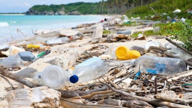 Bottiglie di plastica su una spiaggia.