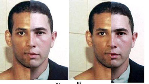 Montagem policial com o rosto dos suspeitos