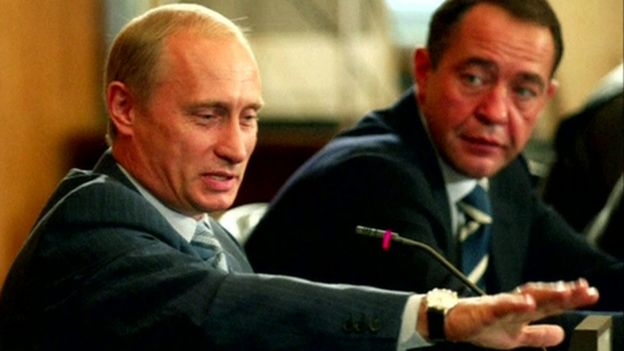 Russian President Vladimir Putin (left) and Mikhail Lesin. Photo: January 2002
