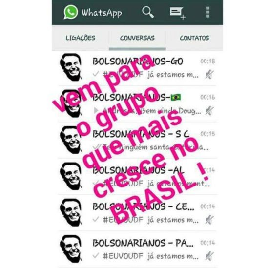 Grupos de WhatsApp de apoio a Bolsonaro