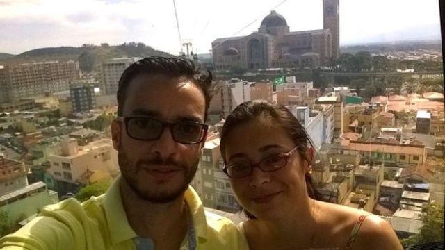 Mônica e Oscar durante viagem à cidade de Aparecida