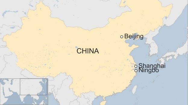 Map of China showing Beijing, Shanghai and Ningbo