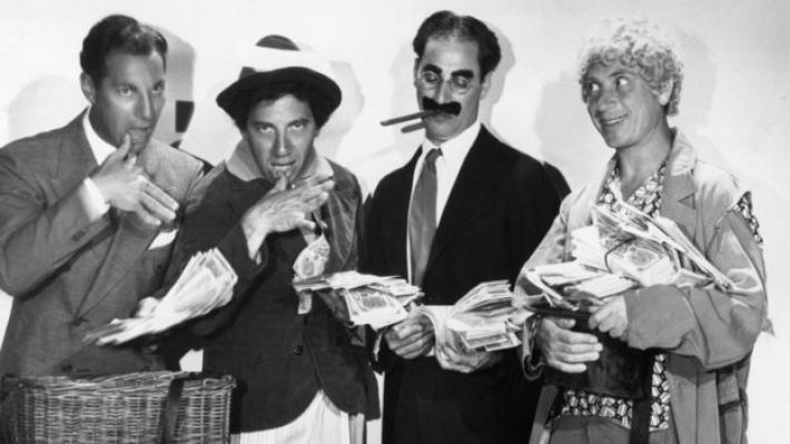 Zeppo Marx with brothers Chico, Groucho and Harpo in 1933
