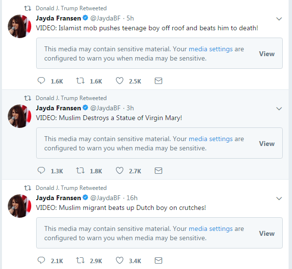 The tweets shared on Trump's timeline