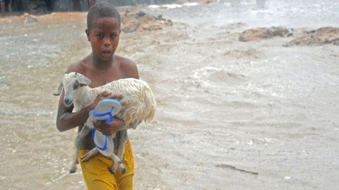A young boy carries a goat across a flooded street in Mogadishu, 3 May 2016