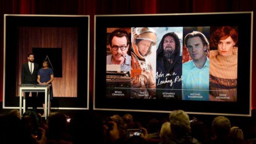 Cheryl Boone Isaacs and John Kransinski announcing the best actor nominees