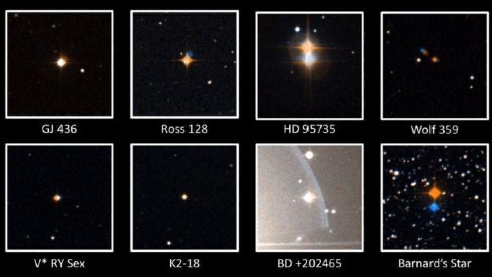 Imágenes de 8 estrellas estudiadas por el Observatorio de Arecibo