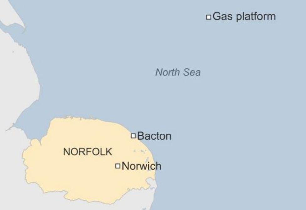 Map of gas platform location