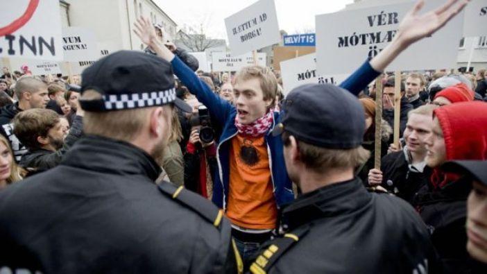 Protesta en Islandia.