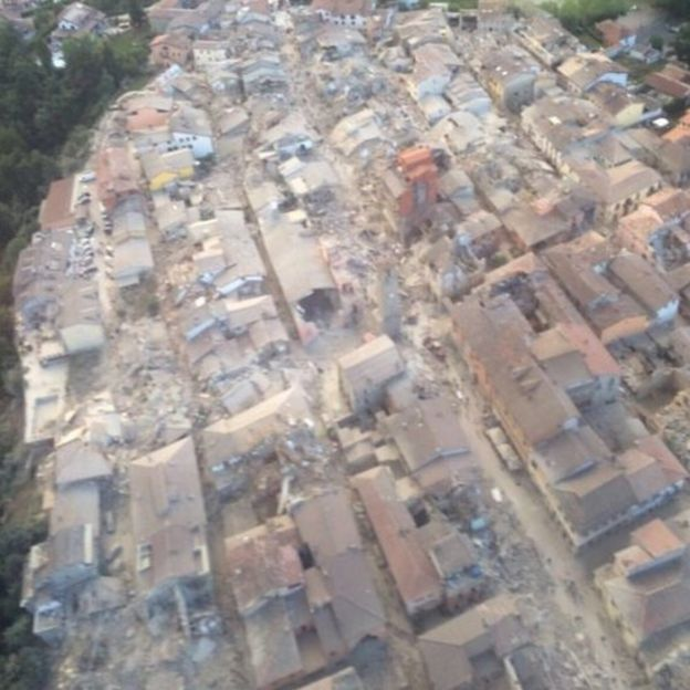 An aerial photo of Amatrice