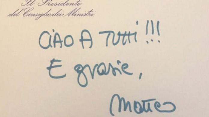 Matteo Renzi tweets: Hello everybody and thank you. Matteo
