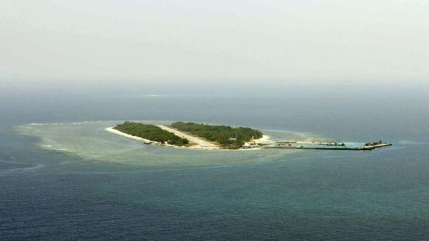 Es una imagen aérea del 23 de marzo de 2016 de la isla Taiping, conocida también como Itu Aba, del Mar del Sur de China.