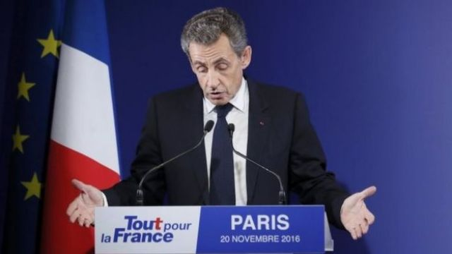 Nicolas Sarkozy speaks after losing in the first round of the primary. Photo: 20 November 2016