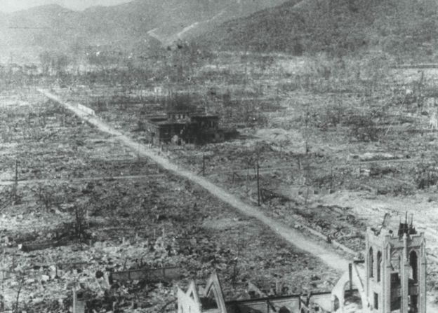 A bombed out landscape in Hiroshima, following the explosion of the first atomic bomb