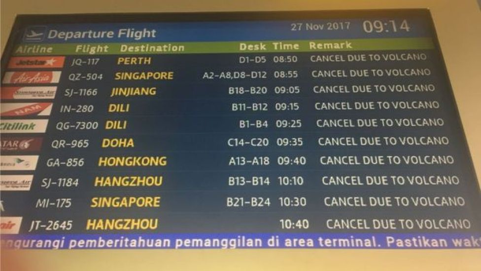 Photo of cancelled flights in Denpasar airport in Bali on 27 November 2017