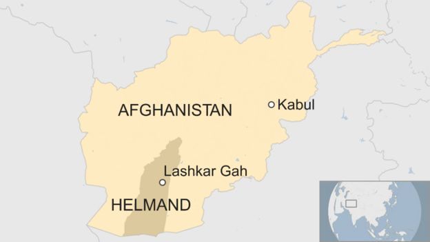 A map of Afghanistan showing Lashkar Gah in Helmand Province, in relation to the capital, Kabul