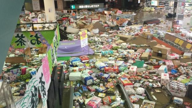 A supermarket in the town of Joso destroyed by the floods