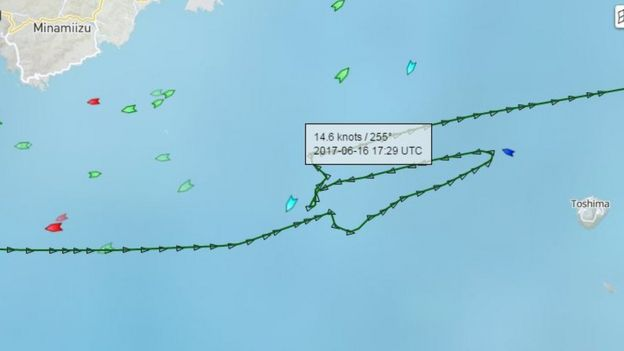 Route of ACX Crystal ship before collision with USS Fitzgerald - 16 June 2017