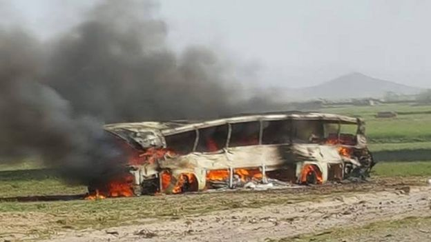 One of the buses involved in a crash with a fuel tanker in Afghanistan - 8 May 2016