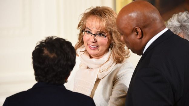 Former congresswoman and gun violence victim Gabrielle Giffords arrives before US President Barack Obama delivers a statement on executive actions to reduce gun violence