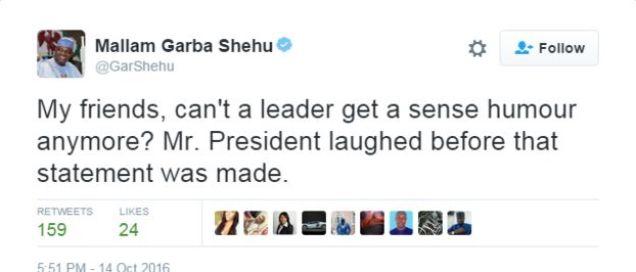 Tweet by presidential spokesman saying