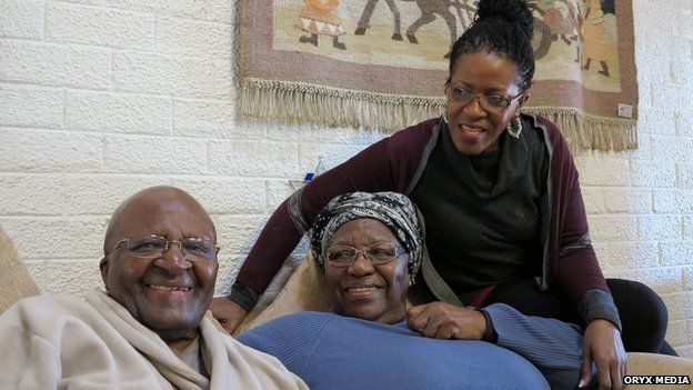 Desmond Tutu, his wife Leah and daughter Mpho - 2015