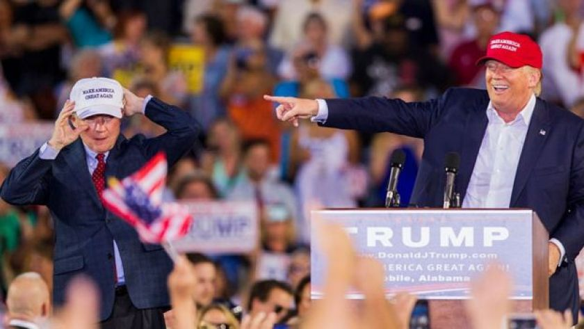 Donald Trump receives the endorsement of Senator Jeff Sessions at a rally in August 2015.