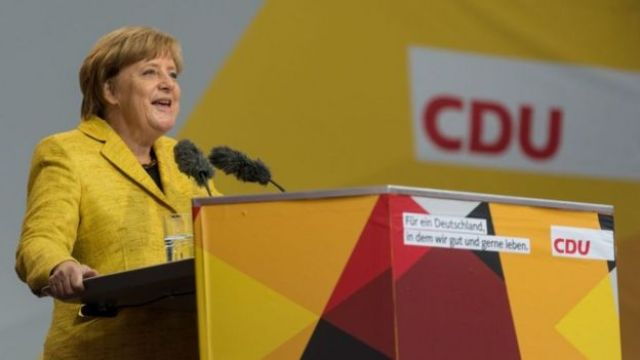 Angela Merkel, en un mitin electoral en la ciudad de Friburgo.