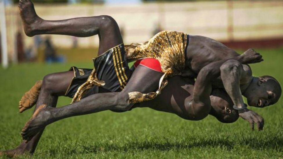 Two participants from Imatong and Terekeka counties take part of the South Sudan National Wrestling Competition for peace at Juba Stadium, on Wednesday 20 April 2016 2013.