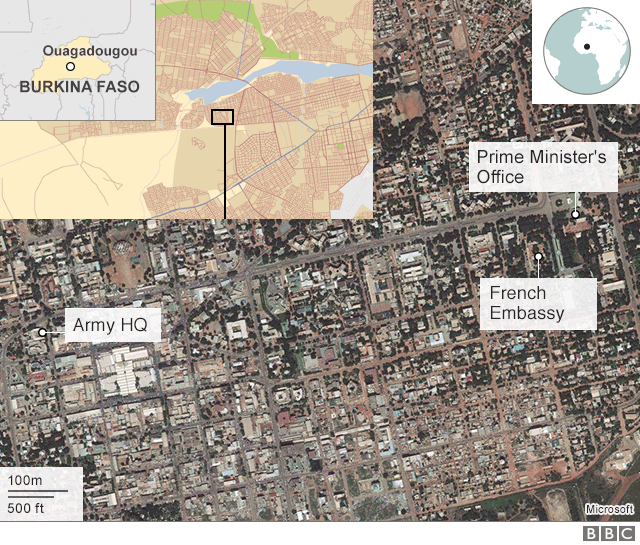 Map showing buildings attacked